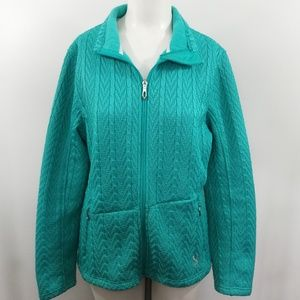 Spyder Core Sweater Cable Knit Full Zip Size L